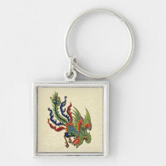 Diseño asiático del tatuaje rico chino del pavo llavero cuadrado plateado