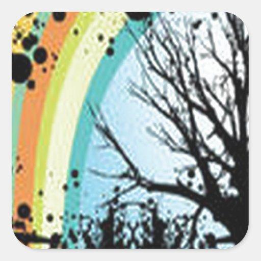 Diseño asombroso de la flor y del raibow del árbol pegatina cuadrada