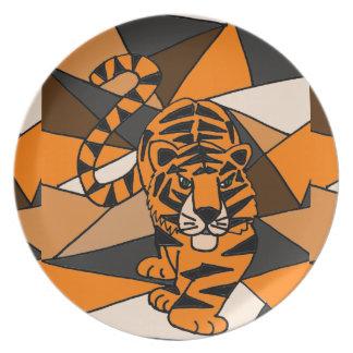 Diseño asombroso del arte abstracto del tigre platos de comidas