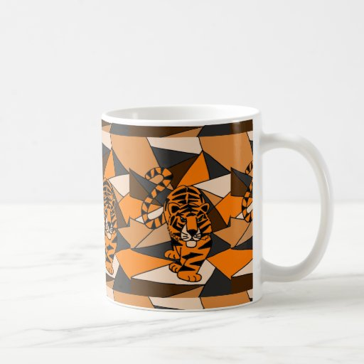 Diseño asombroso del arte abstracto del tigre taza