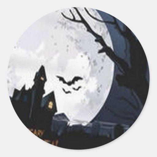 Diseño asustadizo de Halloween Pegatina Redonda