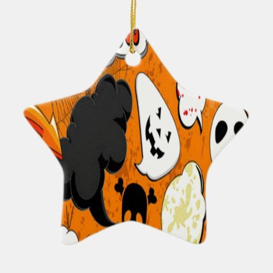 Diseño asustadizo del auge anaranjado adorno navideño de cerámica en forma de estrella