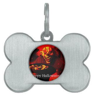 Diseño asustadizo del payaso de Halloween Placas De Nombre De Mascota