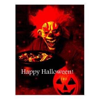 Diseño asustadizo del payaso de Halloween Tarjetas Postales