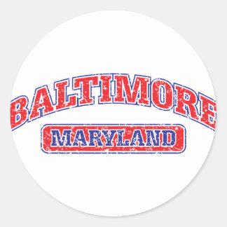 Diseño atlético de Baltimore Pegatina Redonda