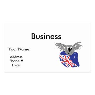 diseño australiano del oso de koala de la bandera tarjetas de visita