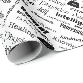 Diseño auxiliar del texto del médico papel de regalo