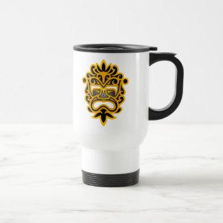 Diseño azteca de la máscara - amarillo y negro tazas