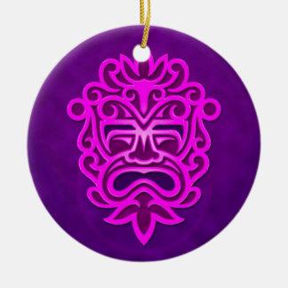 Diseño azteca de la máscara - púrpura adorno redondo de cerámica