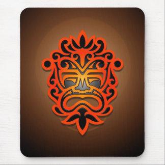 Diseño azteca de la máscara (rojo) tapete de ratones