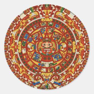 Diseño azteca del pegatina del calendario del maya