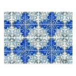 Diseño azul 2 de la teja - remolinos tarjeta postal