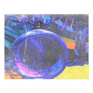 """diseño azul amarillo de la música del rasguño del  folleto 8.5"""" x 11"""""""