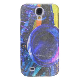 diseño azul amarillo de la música del rasguño del  funda para galaxy s4