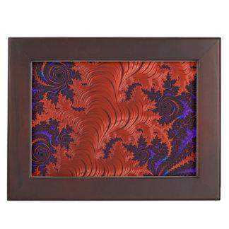 Diseño azul anaranjado hermoso del fractal caja de recuerdos