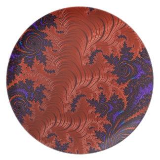 Diseño azul anaranjado hermoso del fractal plato de cena