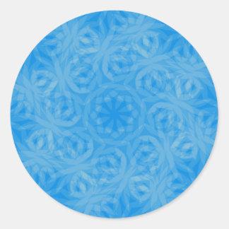 Diseño azul, azul del fractal del hielo pegatina redonda
