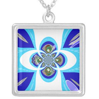 Diseño azul blanco retro de la placa giratoria colgante cuadrado