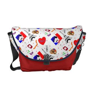 Diseño azul blanco rojo de la diversión linda bolsas de mensajería