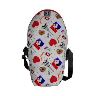 Diseño azul blanco rojo de la diversión linda bolsas messenger
