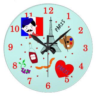Diseño azul blanco rojo de la diversión linda reloj redondo grande