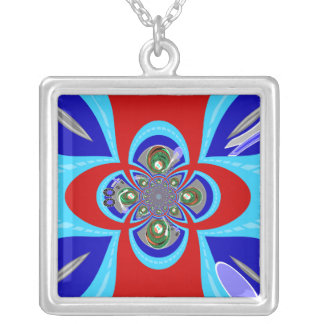 Diseño azul blanco rojo retro de la placa colgante cuadrado