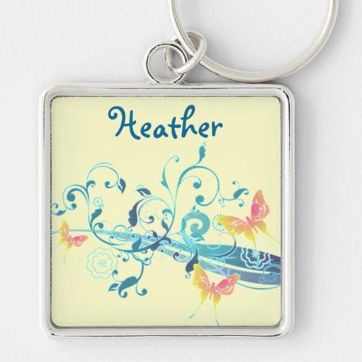 Diseño azul bonito de las mariposas hermosas llavero personalizado