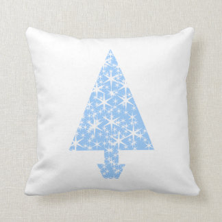 Diseño azul claro del árbol de navidad cojin