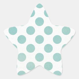 Diseño azul claro femenino retro del lunar pegatina en forma de estrella