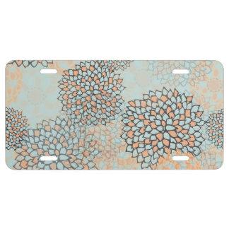 Diseño azul claro y del moreno de la flor de la placa de matrícula
