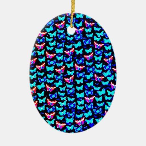 Diseño azul colorido impresionante del arte de las adorno ovalado de cerámica