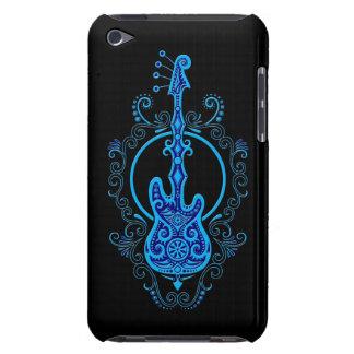 Diseño azul complejo de la guitarra baja en negro cubierta para iPod de barely there