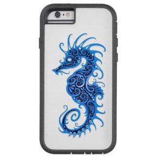 Diseño azul complejo del Seahorse en blanco