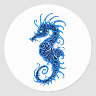 Diseño azul complejo del Seahorse en blanco Pegatina Redonda