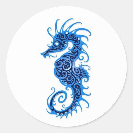 Diseño azul complejo del Seahorse en blanco Etiquetas