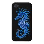 Diseño azul complejo del Seahorse en negro iPhone 4/4S Fundas