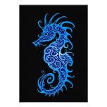 Diseño azul complejo del Seahorse en negro Invitación