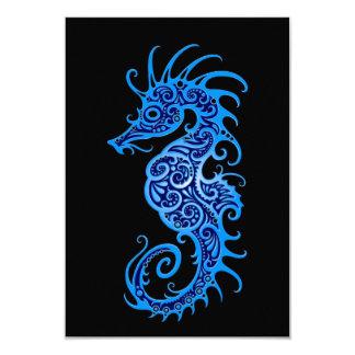 """Diseño azul complejo del Seahorse en negro Invitación 3.5"""" X 5"""""""