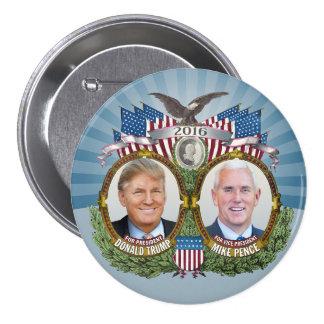 Diseño azul de Donald Trump y de la foto de Jugate Pin Redondo De 3 Pulgadas