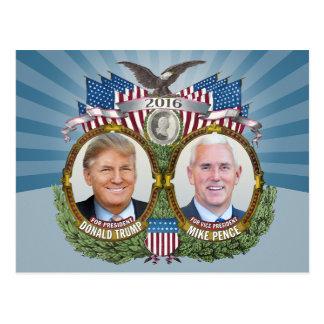 Diseño azul de Donald Trump y de la foto de Jugate Tarjeta Postal