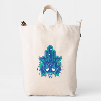 Diseño azul de Hamsa Bolsa De Lona Duck