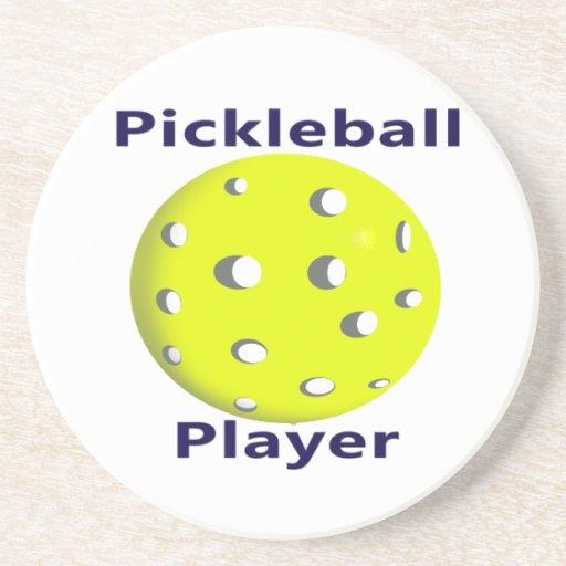 Diseño azul de la bola del amarillo del texto del  posavasos personalizados