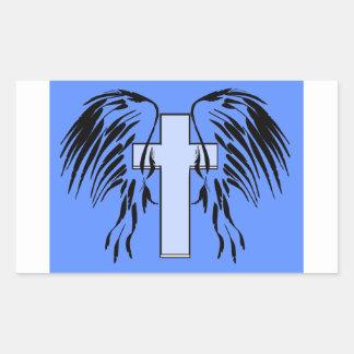 Diseño azul de la cruz y de las alas pegatina rectangular