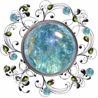 Diseño azul de la gema escultura fotográfica