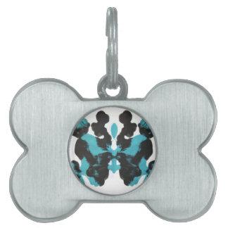 Diseño azul de la mancha de tinta de miércoles placa de mascota