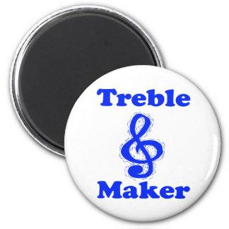 diseño azul de la música del clef agudo del fabric imán redondo 5 cm