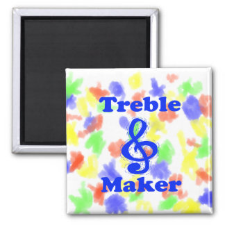 diseño azul de la música del clef agudo del fabric imán cuadrado