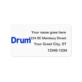 diseño azul de la música del texto del tambor etiquetas de dirección