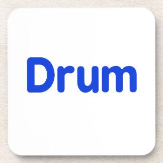 diseño azul de la música del texto del tambor posavasos de bebidas
