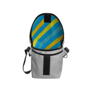 Diseño azul de la raya diagonal multi bolsa messenger